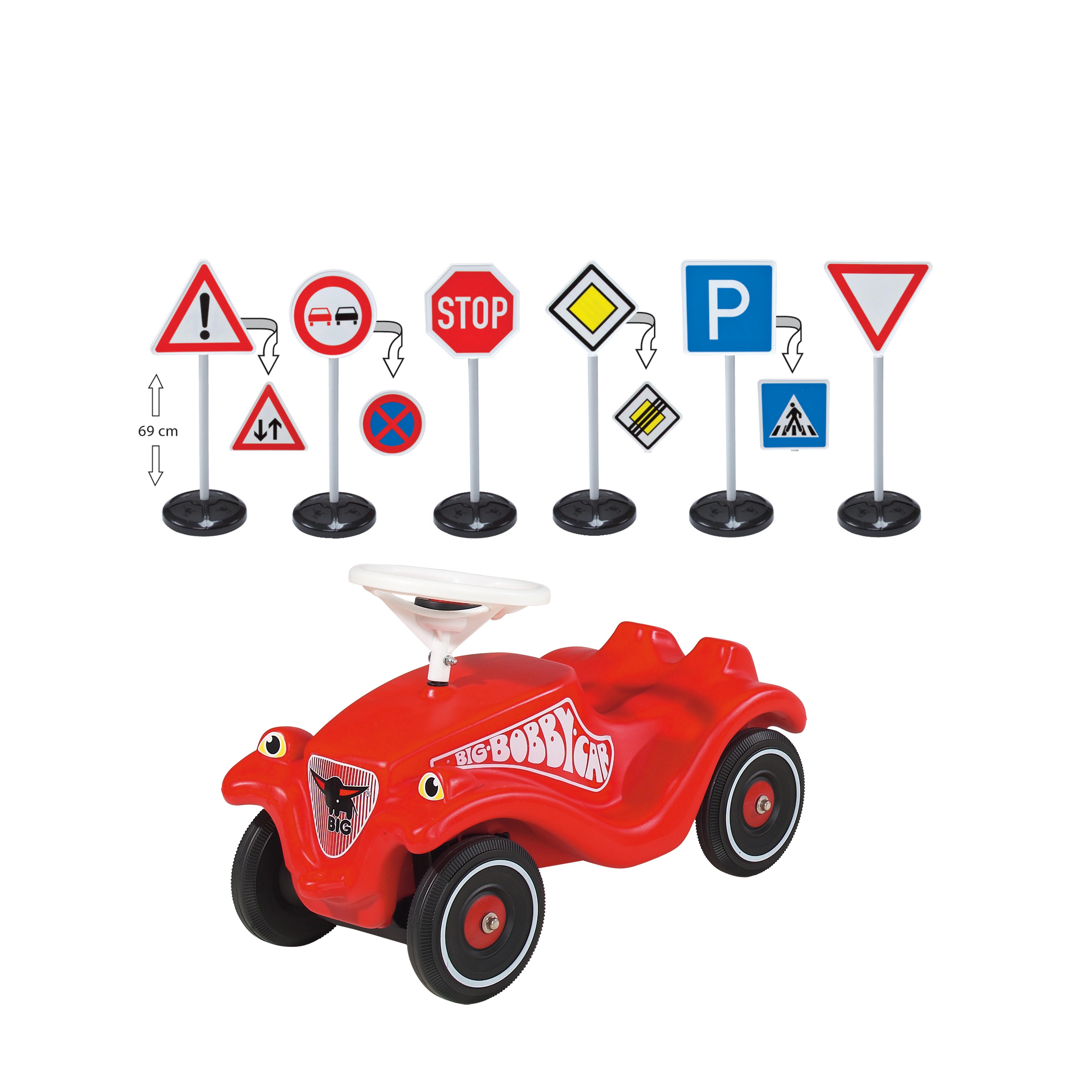 Bobby-Car + Verkehrsschilder